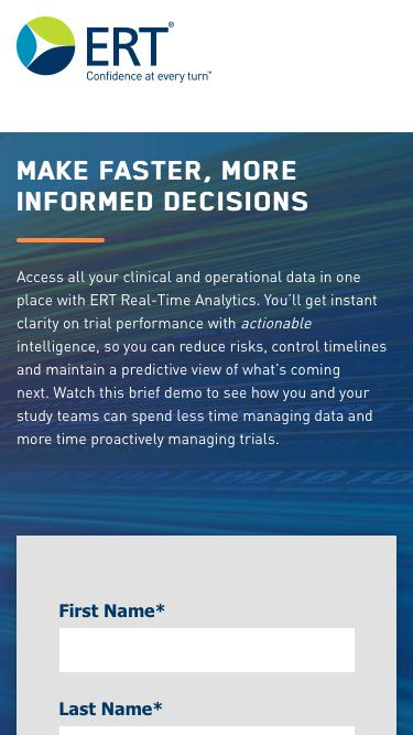 Screenshot of Landing Page  ert.com - ERT Real Time Analytics
