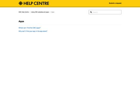 Screenshot of Services Page cbc.ca - Apps – CBC Help Centre - captured July 9, 2016