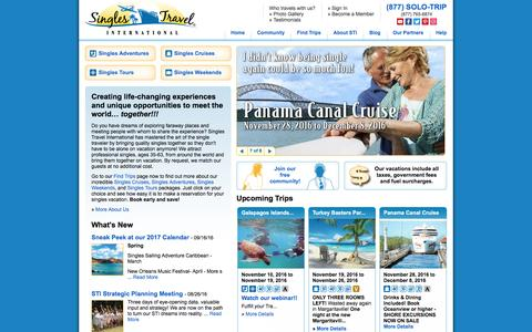 Screenshot of Home Page singlestravelintl.com - Singles Vacations, Cruises, Tours & Holiday Trips from Singles Travel International - captured Sept. 29, 2016