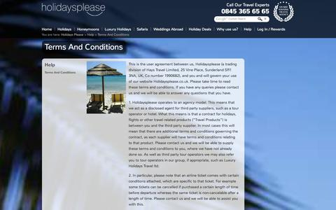Screenshot of Terms Page holidaysplease.co.uk - Holidays Please Terms & Conditions - captured Sept. 24, 2014