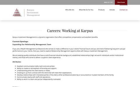 Screenshot of Jobs Page karpus.com - Investment Management Careers | Karpus Investment Management - captured Nov. 27, 2016