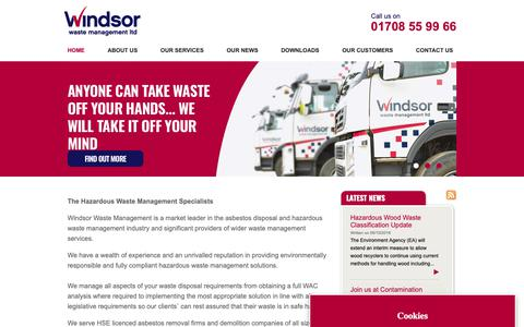 Screenshot of Home Page winwaste.com - Home - Windsor Waste Management - captured Oct. 18, 2018