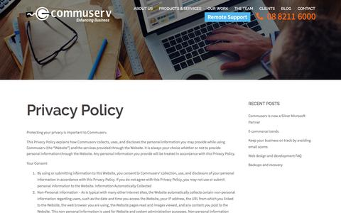 Screenshot of Privacy Page commuserv.com.au - Privacy Policy - Commuserv - captured May 20, 2017