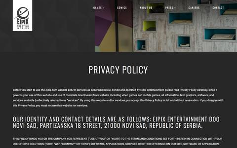 Screenshot of Privacy Page eipix.com - Privacy Policy | Eipix Entertainment - captured Sept. 21, 2018