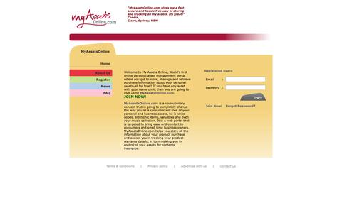 Screenshot of Home Page About Page Privacy Page Contact Page Press Page FAQ Page Terms Page myassetsonline.com - Welcome to MyAssetsOnline.com! A free personal asset management portal. - captured Oct. 9, 2014