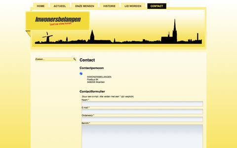 Screenshot of Contact Page inwonersbelangen.nl - Contact - captured Sept. 30, 2014
