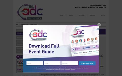 Screenshot of About Page worldadc-usa.com - World ADC San Diego | Hanson Wade - World ADC San Diego - Find out more - captured Oct. 3, 2018