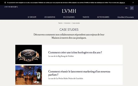 Screenshot of Case Studies Page lvmh.fr - Case studies - Enjeux quotidiens, talents - LVMH - captured Jan. 17, 2016