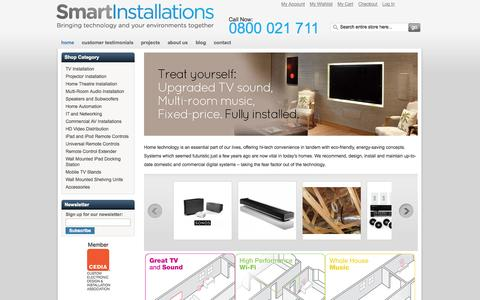Screenshot of Home Page Blog Privacy Page FAQ Page Support Page Terms Page smartinstallations.co.nz - Smart Installations - TV, projector, home theatre and AV Installations - captured Oct. 6, 2014