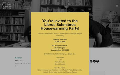 Screenshot of Contact Page librosschmibros.org - Contact — Libros Schmibros Lending Library - captured July 19, 2018