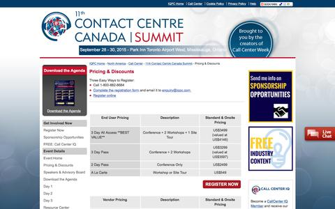 Screenshot of Pricing Page contactcentresummit.ca - 11th Contact Centre Canada Summit - Pricing & Discounts - captured March 5, 2016