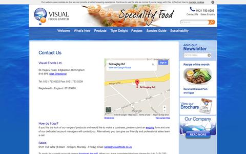 Screenshot of Contact Page visualfoods.co.uk - Contact Us | Visual Foods - captured Oct. 24, 2014