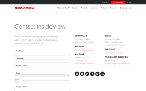 Screenshot of Products Page insideview.com - Contact Us - InsideView - captured March 10, 2018
