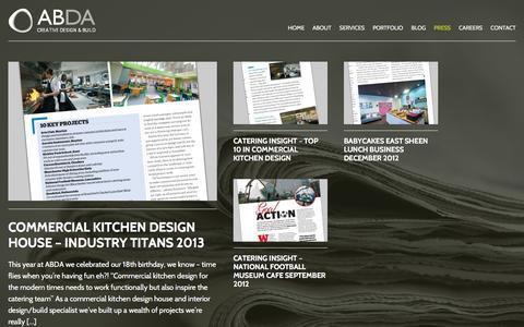 Screenshot of Press Page abdadesign.co.uk - Commercial Kitchen Design | ABDA Creative Design & Build - captured Feb. 5, 2016