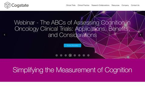 Screenshot of Home Page cogstate.com - Cogstate - Leaders in optimizing the measure of cognition - captured Jan. 18, 2018