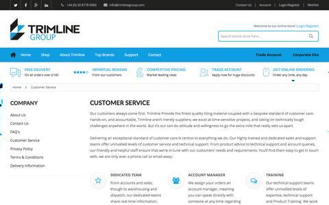 Screenshot of Support Page trimlinegroup.com - Customer Service - captured Dec. 16, 2016