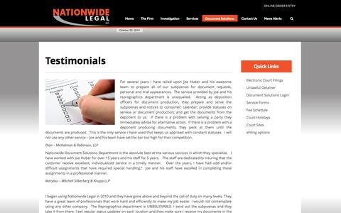Screenshot of Testimonials Page nationwideasap.com - Testimonials » Nationwide Legal, LLC - captured Oct. 26, 2014