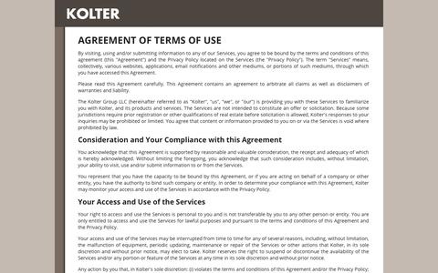 Screenshot of Terms Page kolter.com - Kolter Terms of Use - captured Feb. 4, 2017