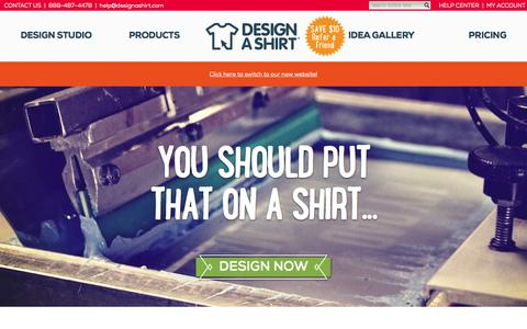 Screenshot of Home Page designashirt.com - Create the Best Custom T Shirts Online: FREE Shipping | DesignAShirt.com - captured Oct. 1, 2015