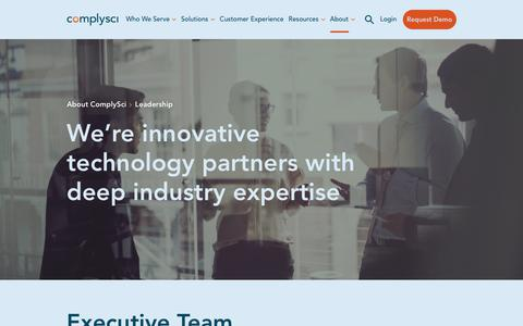 Screenshot of Team Page complysci.com - Leadership | ComplySci - captured July 31, 2019