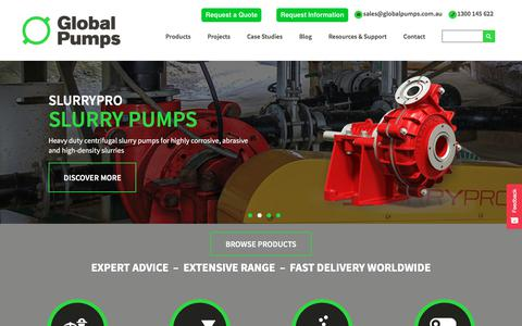 Screenshot of Home Page globalpumps.com.au - Global Pumps Australia | Industrial Pumps and Pumping Equipment - captured July 18, 2018