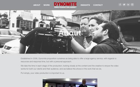 Screenshot of About Page dynomiteproductions.co.uk - About | - captured Feb. 9, 2016