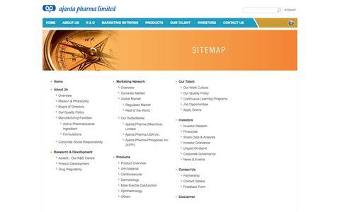 Screenshot of Site Map Page ajantapharma.com - Ajanta Pharma - captured Oct. 4, 2014