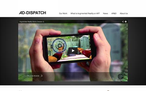 Screenshot of Home Page ad-dispatch.com - Ad-Dispatch - The Leader in Augmented Reality - captured Sept. 30, 2014