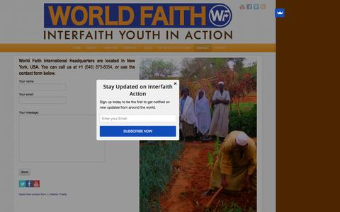 Screenshot of Contact Page worldfaith.org - Contact | World Faith - captured Dec. 9, 2015