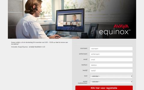 Screenshot of Landing Page avaya.com - Avaya Equinox - eindelijk flexibiliteit in UC - captured Dec. 29, 2016