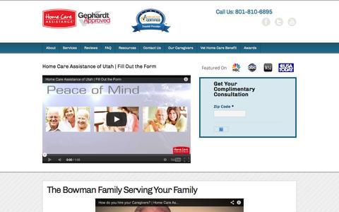 Screenshot of About Page hcautah.com - The Bowman Family Serving Your Family - Home Care Assistance of Utah - captured Oct. 2, 2014