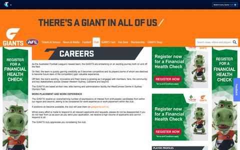 Screenshot of Jobs Page gwsgiants.com.au - Careers - GWSGIANTS.com.au - captured July 15, 2018