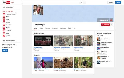 Screenshot of YouTube Page youtube.com - Travelscope  - YouTube - captured Oct. 25, 2014
