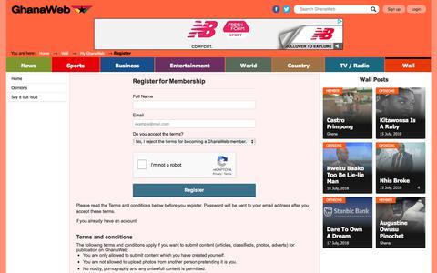 Screenshot of Signup Page ghanaweb.com - Register for Membership - captured July 18, 2018