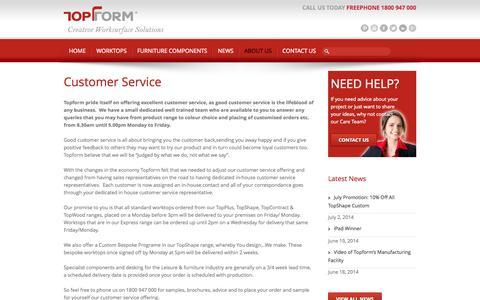 Screenshot of Support Page topform.ie - Customer Service | Worktops | Kitchen Worktops | Topform - captured Oct. 7, 2014