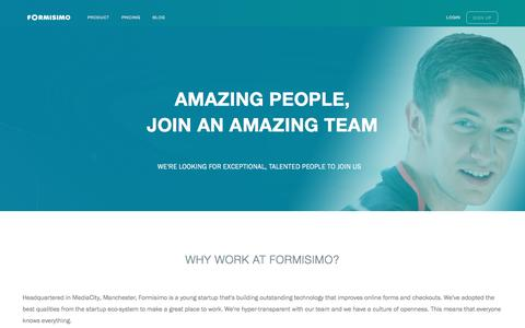 Screenshot of Jobs Page formisimo.com - Careers at Formisimo - captured Feb. 11, 2017