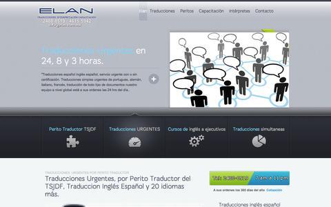 Screenshot of Home Page elan.com.mx - Traducciones Urgentes, Perito Traductor TSJDF traducción español ingles - captured Oct. 1, 2014