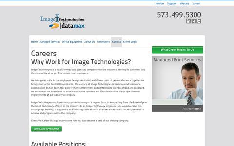 Screenshot of Jobs Page imagetechmo.com - Image Technologies Careers | Image Technologies - captured Oct. 6, 2014