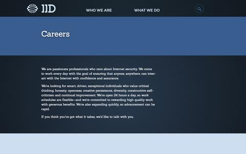 Screenshot of Jobs Page internetidentity.com - IID | Careers - IID - captured Feb. 3, 2016