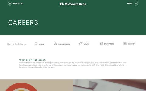 Screenshot of Jobs Page midsouthbank.com - Careers › MidSouth Bank - captured June 10, 2017
