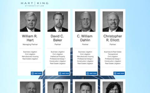 Screenshot of Team Page hartkinglaw.com - Our People - Hart King Hart King - Attorneys at Law - captured Jan. 26, 2016