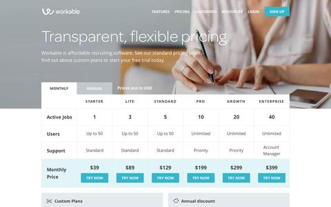 Screenshot of Pricing Page workable.com - Workable Pricing: Affordable Recruiting and Hiring Software | Workable - captured March 25, 2016