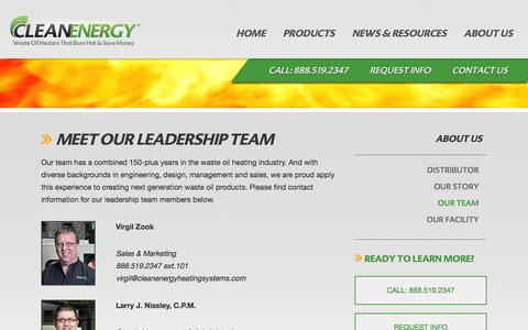 Screenshot of Team Page cleanenergyheatingsystems.com - Our Team - Clean Energy Heating Systems - captured Feb. 8, 2016