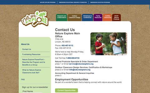 Screenshot of Contact Page natureexplore.org - Contact Us - Nature Explore Program - captured Sept. 21, 2018