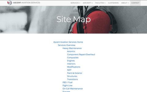 Screenshot of Site Map Page ascentmro.com - Site Map | Ascent Aviation Services - captured Sept. 29, 2018