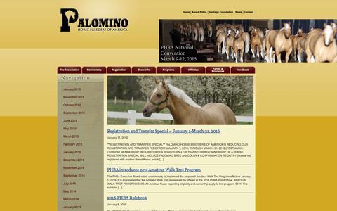 Screenshot of Press Page palominohba.com - News - Palomino Horse Breeders Association - captured Jan. 25, 2016