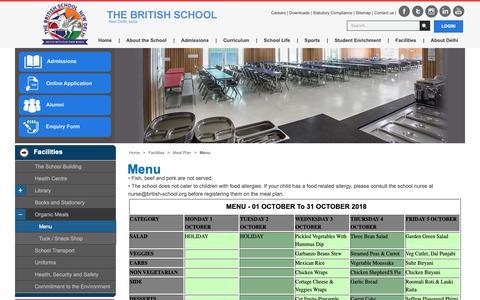 Screenshot of Menu Page british-school.org - Menu Of The Month Meal Plan Of The British School, New Delhi - captured Oct. 6, 2018