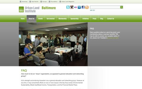 Screenshot of FAQ Page uli.org - FAQ - ULI Baltimore - captured Sept. 24, 2014