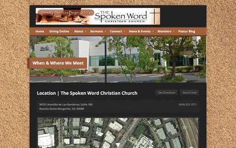 Screenshot of Locations Page thespokenwordchurch.com - When & Where We Meet - Spoken Word Christian Church - captured Oct. 23, 2017