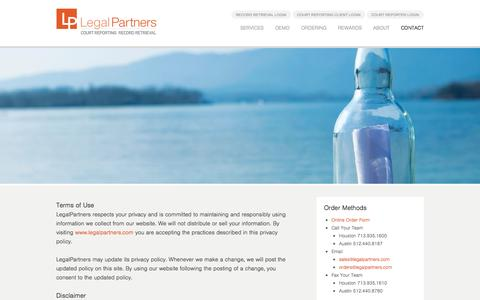 Screenshot of Terms Page legalpartners.com - Terms of Use - LegalPartners LP - captured Oct. 2, 2014